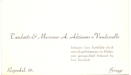 Visitekaartje - Carte Visite - Tandarts A. Adriaens - Vandewalle - Bruges Brugge - Visitenkarten
