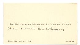 Visitekaartje - Carte Visite - Docteur & Mme L. Van De Vyver - Anvers  Antwerpen - Visitenkarten