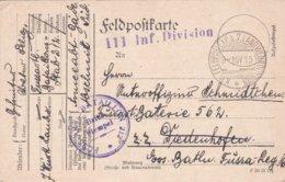 German Feldpost WW1: Fussartillerie Bataillon 212 (Stab) P/m KW Feldpostexp. D. 7. Landwehrdivision 9.11.1915 - Militaria
