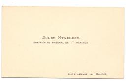 Visitekaartje - Carte Visite - Griffier Rechtbank Brugge - Jules Staelens - Visitenkarten