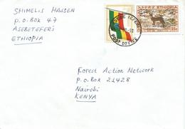 Ethiopia 1998 Asebe Teferi Siminen Fox Flag Cover To Kenya - Ethiopië