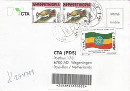 Ethiopia 2001 Arbaminch Flag Woodpecker Registered Cover - Ethiopië