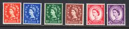 Great Britain 1957 Graphite, Wmk 165, Mint No Hinge, Sc# , SG 561-566 - 1952-.... (Elizabeth II)