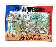 Timbre Neuf Avec Sa Colle - France, MAYOTTE 25e Anniversaire DLEM Légion étrangère  2001 - Mayotte (1892-2011)