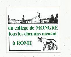 Autocollant , école , Du COLLEGE De MONGRE Tous Les Chemins Mènent à ROME , Villefranche Sur Saône ,Rhône - Autocollants