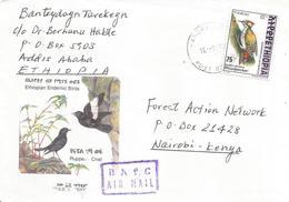 Ethiopia 2000 Hagere Woodpecker Cover To Kenya - Ethiopië