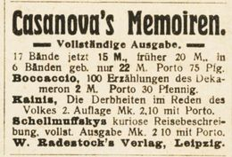Original-Werbung/ Anzeige 1919 - CASANOVAS MEMOIREN / RADESTOCK'S VERLAG - LEIPZIG - Ca. 45 X 35 Mm - Publicités