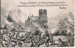 L200A578 - Tableau : L'Artillerie Française En Lutte Contre Les Allemands Près De La Cathédrale De Reims - - Guerres - Autres