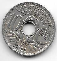 *france 10 Centimes  1922 Km 866a   Vf+ - France