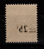 Variete - Semeuse YV 217 N** Avec Surcharge Au Verso - 1906-38 Sower - Cameo