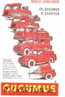 """PUB VEHICULES POMPIERS   """" Ets  GUGUMUS-CHARTON """"    1957  (2a) - Transports"""