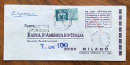 """ESPRESSO L. 150 ISOLATO SU BUSTA  """"da Non Affrancare""""  Poi Tassata A STAMPA IN ARRIVO MILANO 13/2/73 - 6. 1946-.. Republik"""