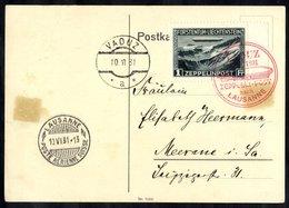 1931 Lausanne Flight - Liechtenstein Acceptance Card To Meerane, Franked 1fr Zeppelin, Tied Red Illustrated Vaduz Flight - Timbres