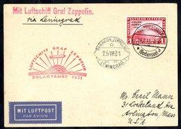 1931 Polar Flight Flown Cover Franked 1m Zeppelin, SG.469 To USA Enclosed 'Via Leningrad' With Red Polar Cachet & Lening - Timbres