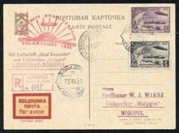 1931 Polar Flight Imperf Russian 30k & 1r (SG.584, 586), Superb Used On Leningrad-Nordpul 'Malygin' Icebreaker Card. Sca - Timbres