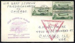 1933 Centenary Of Progress Flight Pictorial Cacheted Flown Friedrichshafen To Chicago, Franked 50c Zeppelin (3), Tied Ne - Timbres