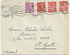 LETTRE POUR LA SUISSE 1941 AVEC 4 TIMBRES TYPES MERCURE / IRIS - Marcophilie (Lettres)