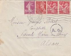 Lettre Avec Censure Pour L'Alsace - Oorlog 1939-45
