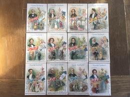 Série Complète 12 CHROMOS CHOCOLAT SUCHARD S58 1898 Full Set Famous Composers Compositeurs Célèbres Mozart Verdi Chopin - Suchard