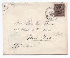 1896 - ENVELOPPE De PARIS Pour NEW YORK (ETATS UNIS) Avec TYPE SAGE - Marcophilie (Lettres)