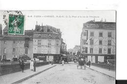 CORBEIL  PONT ET RUE DE L OMBRERIE  TABAC PERSONNAGES Pli Coin Bas   DEPT 91 - Corbeil Essonnes