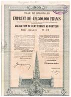 Obligation Ancienne - Ville De Bruxelles 1905 - Titre De 1925 - - Actions & Titres