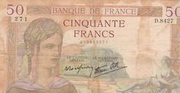 FRANCE / 50 FRANCS / CERES / 15/12/1938 / - 1871-1952 Antichi Franchi Circolanti Nel XX Secolo