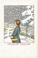 Hausakaa Joulua! - 1910 - Suomi Finland - Woman Basket Snow Scene - Christmas