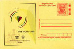 INDE - 2008 - Entier Postal Neuf - Safety First -  Safe World 2008 - Mahatma Gandhi - Entiers Postaux