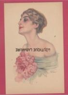 ILLUSTRATEUR----METLICOVITZ Léopoldo--Lithographie--Portrait De Femme Avec Roses - Illustrateurs & Photographes