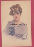 ILLUSTRATEUR----METLICOVITZ Léopoldo--Lithographie--Portrait De Femme Avec Bouquet De Fleurs - Illustrateurs & Photographes