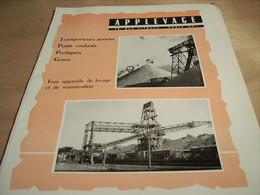 ANCIENNE PUBLICITE PONTS ROULANT SOCIETE APPLEVAGE 1960 - Transportation