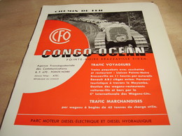 ANCIENNE PUBLICITE CHEMIN DE FER CONGO OCEAN 1960 - Spoorweg