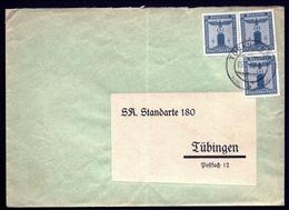 ALL-BL 26-  LETTRE REICH III- 3 TIMBRES RÉUNIS DE FRANCHISE MILITAIRE N° 107- CAD TUBINGEN 1939- - Germania