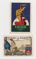 LOT  DE  DEUX   VIGNETTES   DIFFERENTES  DE  LA  FOIRE   DE   PARIS *  ANNEE   1930  * - Erinnophilie