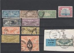 USA   Lot De 12 Timbres Poste Aérienne Oblitérés Dont Yvert PA 7 à 12 + PA 25 Sur Fragment Cachet Colombus - Poste Aérienne