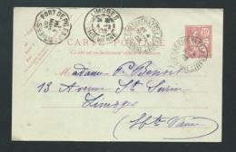 CONVOYEUR PORT DE PILES A POITIERS Tad 4/03/1903 Sur Entier Yvert 124-CP1  -  Bb16205 - Marcofilie (Brieven)