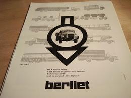 ANCIENNE PUBLICITE CAMION BERLIET 1960 - Camions