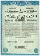 Obligation Ancienne - Royaume De Belgique - Emprunt à Lots 5% 1932 - Titre Original - Actions & Titres