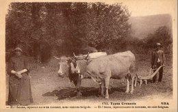 """Types Creusois. CPA. Couple De Paysans Avec Un Attelage De Boeufs Et Une Charrue.""""nous Sommes Fatigués"""" 1937. Scan Verso - Cultures"""