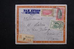 COTE DES SOMALIS - Enveloppe En Recommandé De Djibouti Pour Paris En 1940 Par Avion, Affranchissement Plaisant - L 24235 - Lettres & Documents