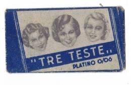 LAMETTA DA BARBA - TRE TESTE PLATINO 0.06  -   ANNO 1930/40  - - Lamette Da Barba