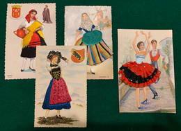 4 Cartes De Voeux Brodées - Costumes Traditionnels - Brodées