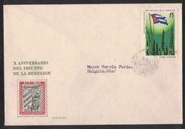 YN60   Cuba FDC 1969 -   X ANIVERSARIO DEL TRIUNFO DE LA REBELION FIDEL CASTRO TRIUNFO DE LA REVOLUCION CUBAN FLAG - FDC
