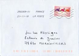 "2018 : Timbre Postal Adhésif ""EMOJI"", Seul Sur Lettre - 1961-...."