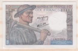 10 Francs Mineur 22 6 1944 Alphabet U.96 N° 83461, Billet Neuf - 1871-1952 Anciens Francs Circulés Au XXème
