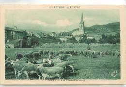 CPA 12 Aveyron VABRES Vue Générale (Ouest) Troupeau Moutons Berger - France