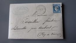 Lettre Cachet SAINT SATURNIN LES AVIGNON, GC6106, De 1874 .................... MK-2282a - Marcophilie (Lettres)