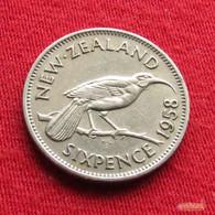 New Zealand 6 Sixpence 1958 KM# 26.2  *V2 Nova Zelandia Nuova Zelanda Nouvelle Zelande - Nouvelle-Zélande
