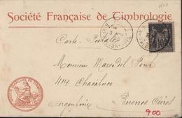 YT Sage 103 CAD Paris Bd Malherbes 3 Nov 00 CP Entête Société Française De Timbrologie Pour Destination Argentine - Marcophilie (Lettres)